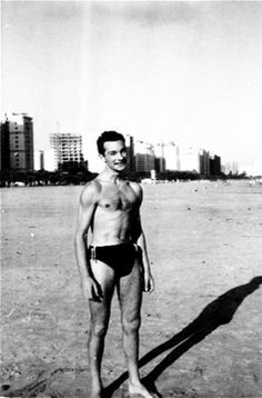 The writer on the beach at Santos, Brasil 1960-61, Photograph by Jim Pendleton, our 3rd, Engineer Officer on the Brasil Star, home port, Port of London. Copyright © Michael John Brown 2010.