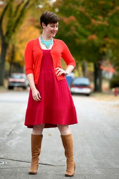 Already Pretty outfit featuring orange cardigan, magenta knit sweaterdress, ECCO boots, turquoise bib necklace, vintage bracelet