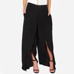 Fashion Pure Color Loose Cross Hem Loose Chiffon Pants Women Summer Casual Pants