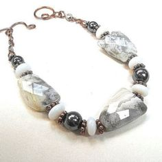 Earthy Gemstone Bracelet Crazy Lace Agate by RoughMagicCreations