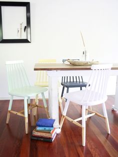 Up-cycled chairs: pastel pop    stylelifehome