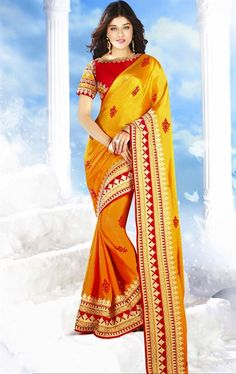 Picture of Flamboyant Orange and Yellow Color Wedding Saree