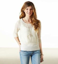 AE Lace Tiered Long Sleeve Top