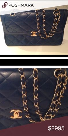 """CHANEL Flap Bag Vintage Navy Blue Serious buyers only for inquiring more information. This is my first CHANEL handbag & I am finally considering selling it as I have collected a few CHANELs now . Color is navy . Auth card is included Minor to very gentle wear but well taken care of and was at the """"CHANEL spa """"  and haven't used since .I will keep happily so please be mindful of comments .Check my sold handbag listings as I have sold dozens of my designer handbags here. Excellent preowned…"""