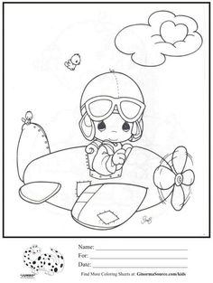 Precious Moments airplane coloring page.