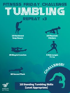 Get active, improve your tumbling and compete with your teammates in this week's challenge! Get active, improve your tumbling and compete with your teammates in this week's challenge! Cheerleading Workouts, Cheer Tryouts, Gymnastics Workout, Cheer Coaches, Cheer Stunts, Cheer Dance, Cheer Mom, Cheer Athletics Abs, Gymnastics Stretches