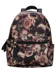 Vintage Allover Rose Print Backpack