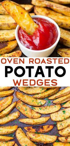 Learn how to make seasoned, crispy oven roasted potato wedges! Learn how to make seasoned, crispy oven roasted potato wedges! Learn how to make seasoned, crispy oven roasted potato wedges! Learn how to make seasoned, crispy oven roasted potato wedges! Potatoe Wedges In Oven, Potato Wedges Recipe, Potato Wedges Baked, Best Potato Wedges, Russet Potato Recipes, Baked Potato Recipes, Potato Side Dishes, Recipes With Potatoes, Simple Potato Recipes