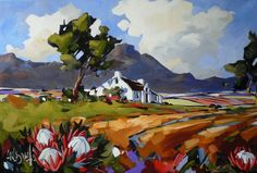 Carla Bosch is a South African Artist who paints bold acrylic landscapes, street scenes, nautical scenes. Abstract Landscape, Landscape Paintings, Watercolor Paintings, Protea Art, Landscape Arquitecture, South African Artists, Impressionist Paintings, Cool Landscapes, Art Pictures