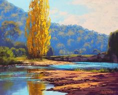 Golden Popular Tumut River by Graham Gercken Landscape Art, Landscape Paintings, Graham Gercken, Autumn Painting, Painting Art, Impressionist Artists, Outdoor Paint, Australian Artists, Cool Paintings