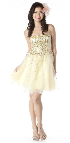 Short Cream Dress Tulle Poofy Sequins Strapless Sweetheart Neck $126.99