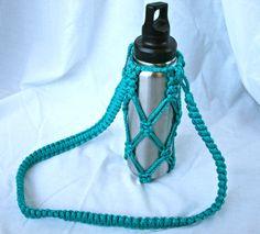 Macrame Water Bottle Holder in Teal