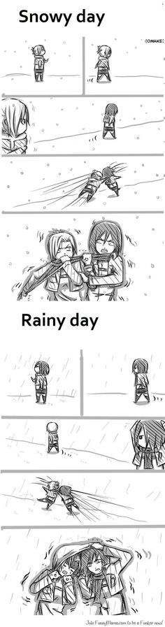 *summer days* Mikasa : ahhhhh ...you banana nose ..take off your dress Annie :huh...you take yours off you eren fangirl