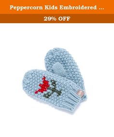 Peppercorn Kids Embroidered Tulip Mittens - Blue - SM (1-3Y). Add a sweetly knitted pair of embroidered mittens to your lil girls' fall wardrobe. Cross stitch embroidery and very soft to the touch, wear spring blooms all year 'round with an adorable flower detail. Pair with a matching or our newest cardigan for the sweetest all around look!.