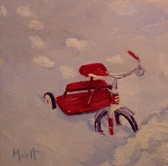 Tricycle in the Snow Childhood Winter Scene daily oil painting, painting by…