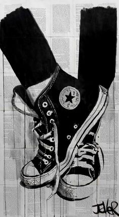 ARTFINDER: black by Loui Jover - continuing series of works with the iconic chucks/converse all stars..