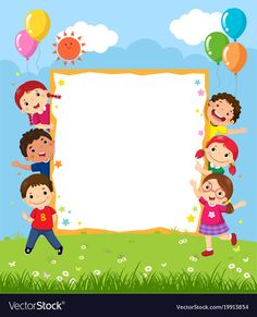 Happy smiling group of kids showing blank board Vector Image Adobe Illustrator, Illustrator Tutorials, School Border, Powerpoint Background Design, Boarders And Frames, Kids Background, School Frame, Board Decoration, School Decorations