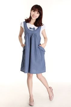 5bca0998c New Summer Maternity Dress Maternity One-piece Casual Dress pregnancy Denim  Clothing Bow Clothes for