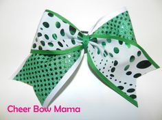 White with Green Dots Cheer Bow by Cheer Bow Mama