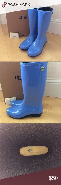 UGG W Shaye Rain Boots NWT NWT UGG W Shaye Rain Boots.  Size 7.  Still in box & includes Care Tag.  Padded fleece foot bed.  Style 1012350 W/SYL.  Little mark on the right boot (toe).  Please see last photo.  Never worn & stored in original box.  Smoke free & pet free home.  Price is FIRM as I will have to pay additional shipping on this item.  Thank You UGG Shoes Winter & Rain Boots