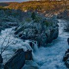 Submitted by  on Reddit. The flowing rapids of Great Falls Maryland in the morning sunrise [2100x3797][OC]