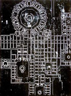 Temple plan (Christopher Slack). Black & white architectural painting. Enamel.
