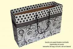 Sacola em papel duplex reciclado - impressão preta - 35x23x10 - pct c/ 10 unid