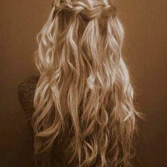 Waterfall braid/ curls