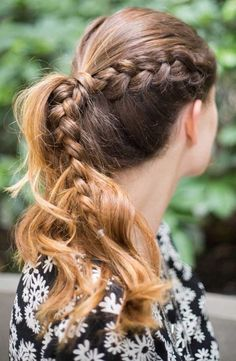 Step up your go-to ponytail by incorporating a simple side braid. Start your braid over the ear and secure ends with a thin elastic. Pull sections apart to thicken and pull the rest of your hair into a messy ponytail.