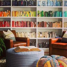 This comfy and colourful hangout. | 26 Bookshelves That Will Give You Serious Goals