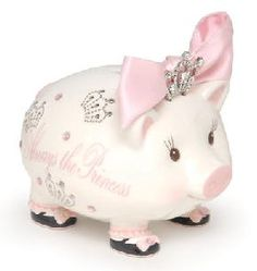 "$38.50 Oh so adorable! This pretty little piggy will help your little girl save to Always be a Princess! Sweet handpainted piggy bank has jeweled crown and is decorated with crown motifs.  Size: 5"" x 5"""