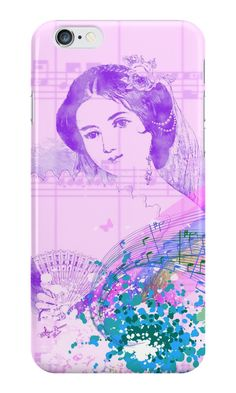 Vintage Fan Lady iPhone 6 Snap Case by #MoonDreamsMusic #iPhone6Case #VintageLady #SheetMusic