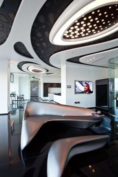 One Thousand Museum Sales Center by Zaha Hadid photo by Robin Hill c LO RES 4 10 Museum interior project \ Zaha Hadid: Futuristic Interior, Futuristic Furniture, Futuristic Architecture, Futuristic Design, Interior Architecture, Zaha Hadid Design, Zaha Hadid Architektur, Zaha Hadid Interior, False Ceiling Design
