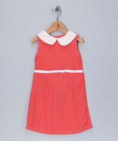 so cute, $22.99! This Coral Polka Dot A-Line Dress - Infant, Toddler & Girls by Velvet & Tweed is perfect! #zulilyfinds