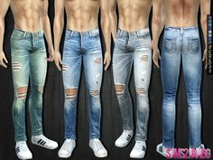 Sims 4 CC's – The Best: Ripped Jeans von - Christmas Deesserts The Sims 4 Pc, Sims 4 Cas, Sims Cc, Sims 4 Men Clothing, Sims 4 Male Clothes, Clothing Sets, Men Clothes, Sims Mods, The Sims 4 Jeans