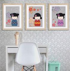 3 affiches décoration kokeshi, fille, chambre d'enfant, affiche enfant, cadeau pour fille