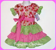 Girls Peasant Dress Ruffled Pink floral by Togs4TotsKidsClothes, $18.00