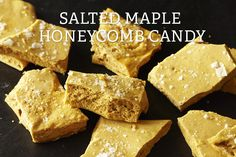 Salted Maple Honeycomb Candy Recipe on - - This recipe is a miracle of science: add a little baking soda to a dark, maple caramel and soon you have this impossibly crunchy, airy candy. I sprinkle the candy with sea salt to cut the sweetness. Honeycomb Recipe, Honeycomb Candy, Candy Recipes, Dessert Recipes, Xmas Recipes, Vegan Recipes, Syrup Recipes, Fodmap Recipes, Fudge Recipes