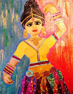 Indian Lady Dancing on Etsy, Mixed Media Canvas, Art Paintings, Berry, Dancing, Princess Zelda, Indian, Unique Jewelry, Handmade Gifts, Lady