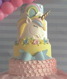 Unicorn Baby Shower Gorgeous Unicorn Cake, Just so divine and pretty. Perfect for a Unicorn Baby Shower Baby Shower Cakes, Baby Shower Kuchen, Shower Baby, Unicorn Birthday Parties, Birthday Party Decorations, Girl Birthday, Birthday Cake, Birthday Sweets, Birthday Nails