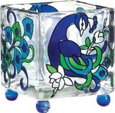 Peacock Art Glass Tea Light Candle Holder  $10.95 www.AllThingsPeacock.com
