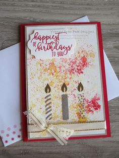 Brusho meets embossing and the Picture Perfect Birthday stamps from the 2018 Occasions catalogue by Stampin' Up!.