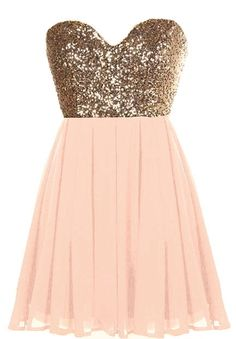 Glitter Fever Dress: Features a charming sweetheart neckline, glittering gold sequin bodice, centered rear zip closure, and a romantic blush pink A-line skirt to finish.