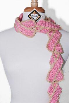 Breast Cancer Cookie Scarf- Crochet Scarf- Women Scarf