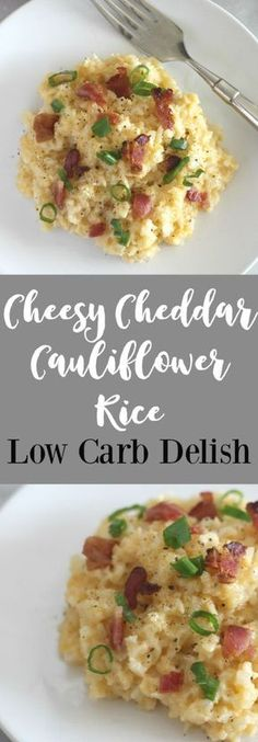Cheesy Cheddar Cauliflower Rice - Low Carb Delish Low Carb Diets, Quick Diets, Quick Keto Meals, Paleo Meals, Paleo Food, Healthy Meals, Healthy Food, Ketogenic Recipes, Low Carb Recipes