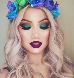 Image result for beautiful makeup looks in teal and blue eyeshadows