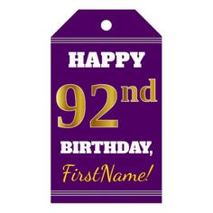 Purple Faux Gold 92nd Birthday  Custom Name Gift Tags - birthday gifts party celebration custom gift ideas diy