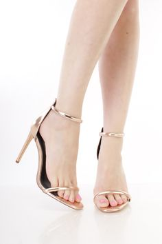 Rose Gold Open Toe Ankle Strap Single Sole High Heels Faux Leather. High  Heel PumpsStiletto ... 5603680857ae