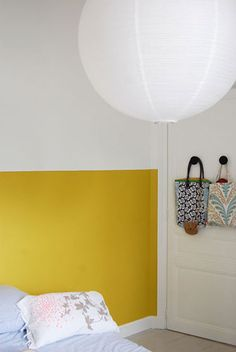 deco room wall yellow mr mrs clynk by charlottevcn Home Bedroom, Bedroom Wall, Bedrooms, Yellow Headboard, Painted Headboard, Mustard Walls, Mustard Yellow, Half Painted Walls, Yellow Walls