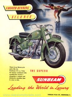 1952 Sunbeam S7 mounted print, Classic motorcycle  art
